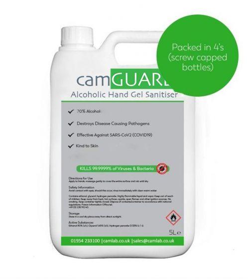 70% Alcohol Hand Sanitiser Gel Refills (4 x 5L)-AG105-100-5000 x 4-Camlab