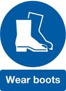 Warning/Safety Sign Wear Boots 200X150 Self Adhesive Vinyl