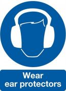 Safety Sign Wear Ear Protectors 200 x 150mm Self Adhesive Vinyl