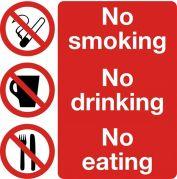 Safety Sign No Smoking No Drinking No Eating 300 x 300mm