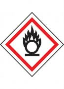 GHS-03 Oxidising label, 100mm x 100mm, self adhesive vinyl