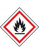GHS-02 Flammable label, 100mm x 100mm, self adhesive vinyl