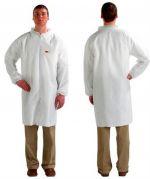 3M 4440 White Lab Coats - Zip Fastener - Large - Pack of 50-camlab