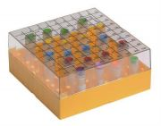 Camlab Plastics 100 Place Polycarbonate Cryo Box, Printed Lid. 131 x 131. 0.5-2ml tubes (12.5mm diameter) from Camlab