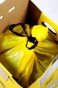 Griff Carton Yellow Cardboard Clinical Waste Disposal Bin with bag 25L-522000-Camlab