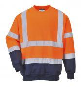 B306 Orange Two-Tone Hi-Vis Sweatshirt - Large