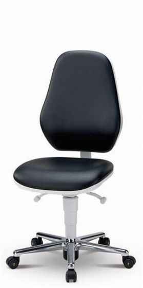 Cleanroom Basic 2 Black synth leather chair, synchronous back, castors