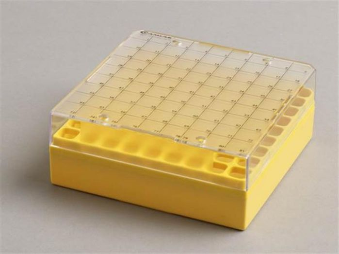 81 Place Polycarbonate yellow storage box for 0.5-2ml Pack of 5