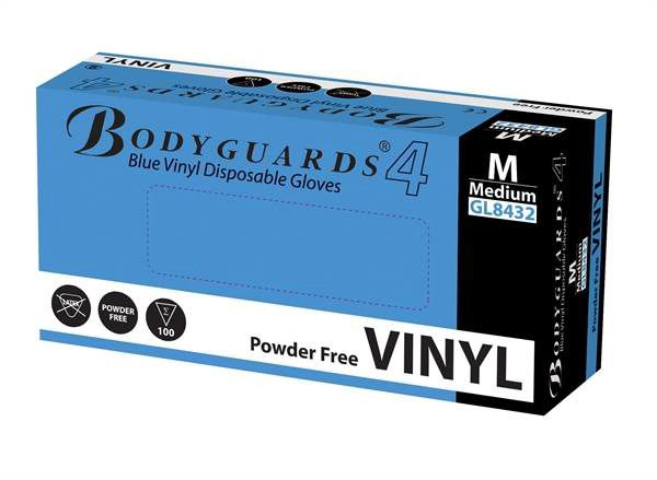 Bodyguards Powder-Free Blue Vinyl Gloves AQL 4.0 Box of 10 x 100 pcs