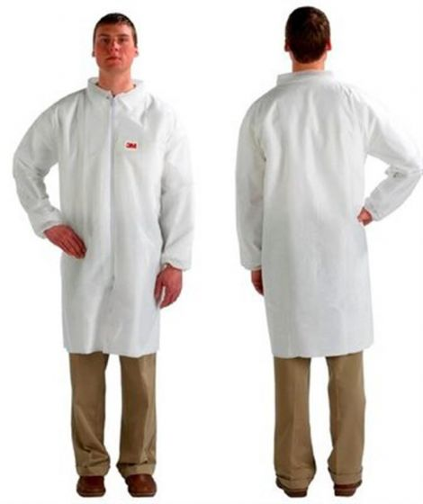 3M 4440 White Lab Coats - Zip Fastener - Large - Pack of 50