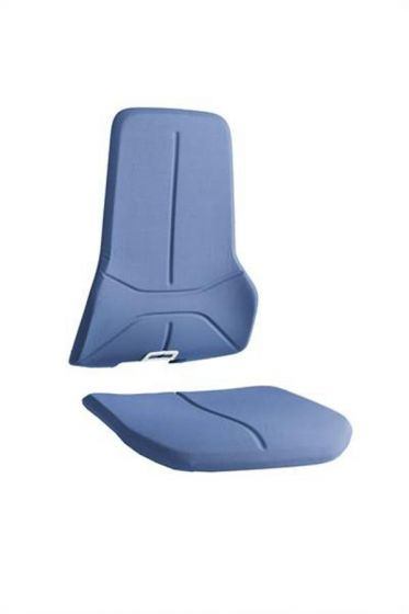 Blue Superfabric cut resitant seat pads for Bimos neon lab chairs