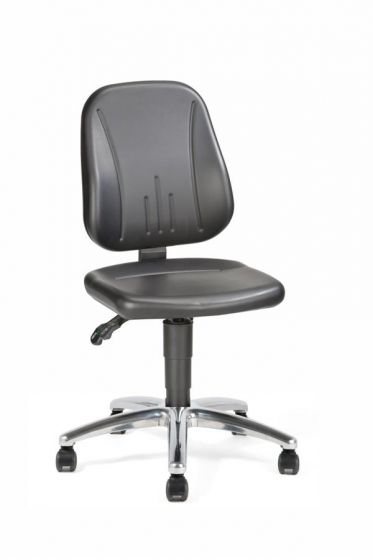 Champ 1 Lab Chair with castors and synthetic leather seat