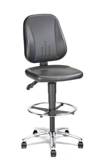 Champ 2 Lab Chair with stop-go castors footring and synthetic leather seat