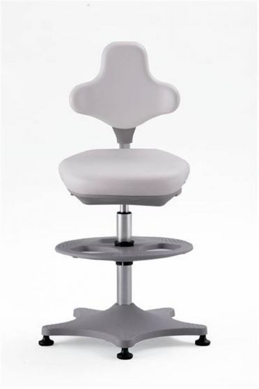 Labster 3 White synthetic leather lab chair with glides and foot ring