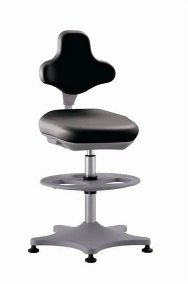 ESD Labster 3 Black synthetic leather lab chair with glides and foot ring