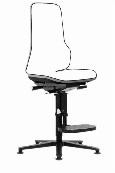 Neon 3 Lab Chair no seat pads Cool Grey flexband with glides and foot rest