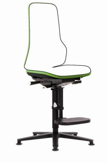 Neon 3 Lab Chair no seat pads Mars Green flexband with glides and foot rest