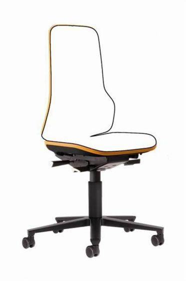 Neon 2 lab Chair no seat pads Happy Orange flexband with castors
