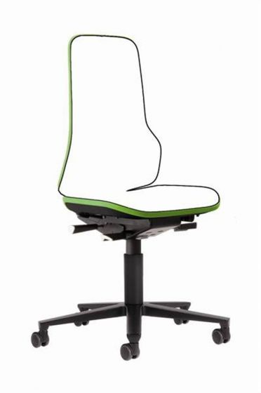Neon 2 lab Chair no seat pads Mars Green flexband with castors