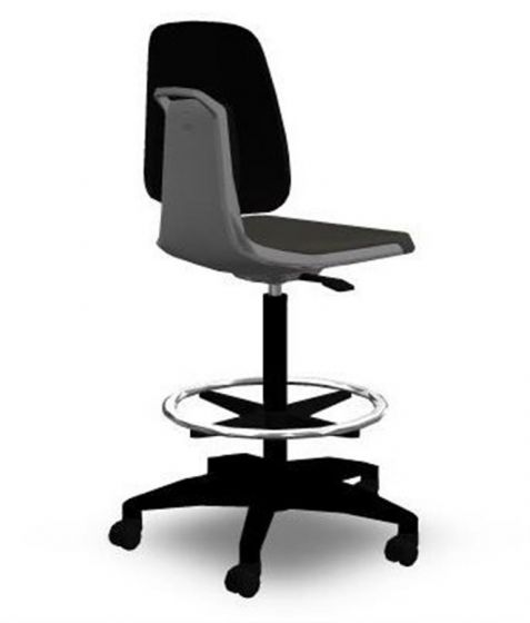 Labsit 4 artificial leather, grey seat shell,polished base
