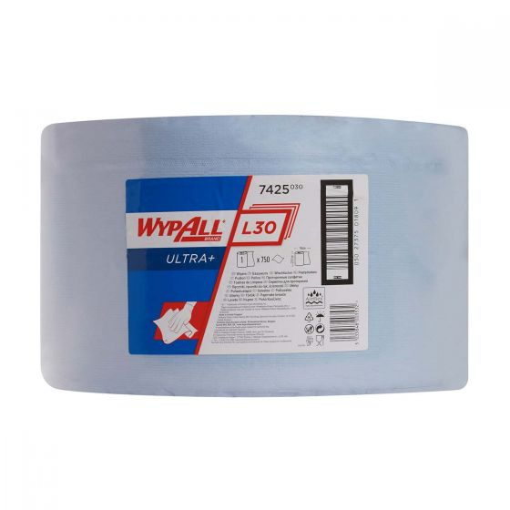 7425 WYPALL L30 Ultra+ Wipers - Large Roll - Blue x 750 Sheets