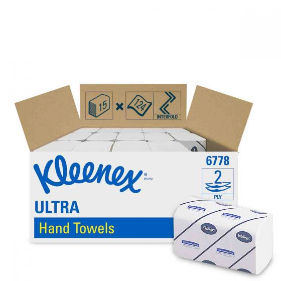 6778 KLEENEX  ULTRA Hand Towels - Interfolded/Medium - White - 15 x 124 Sheets