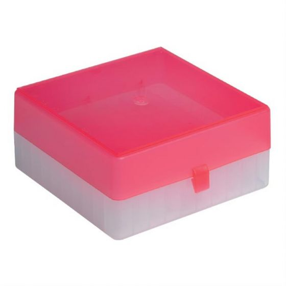 100 Place Freezer Box Red Lid with Hinged Lid & Stick on Grid for 0.5-2ml Tubes-RTP/72101-RI-Camlab