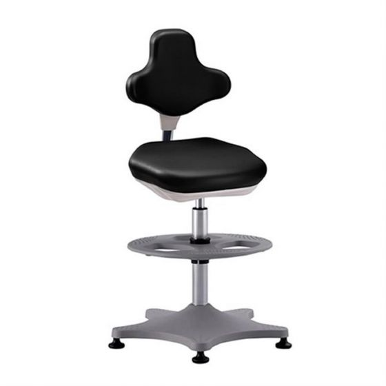 Labster 3 Black synthetic leather lab chair with glides and foot ring