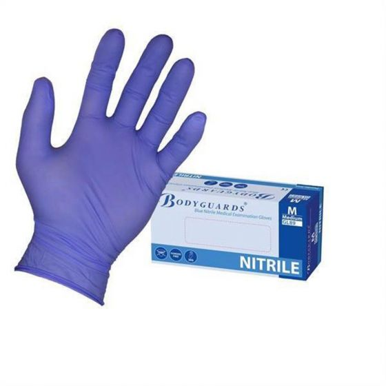 Bodyguards Blue Nitrile Medical Examination Gloves AQL 1.5 Small Pack of  10 x 200 pcs