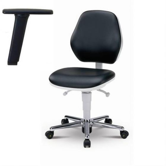Cleanroom Basic 2 Black artificial leather chair with castors and armrest