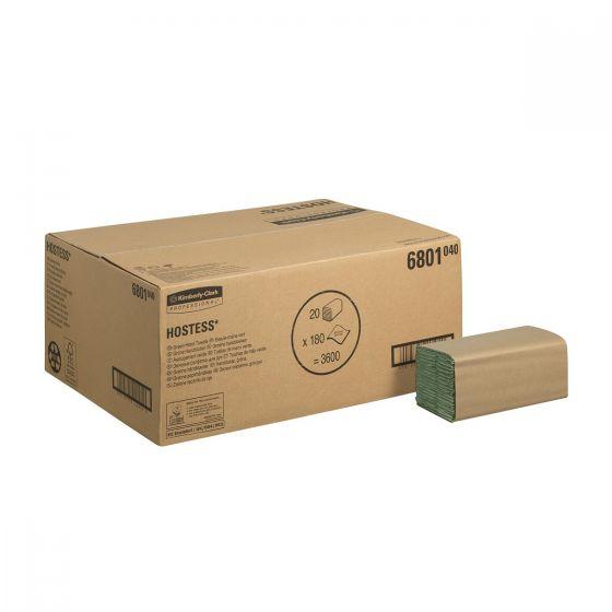 6801 HOSTESS  Hand Towels - S Fold/Medium - Green - 20 x 180 Sheets