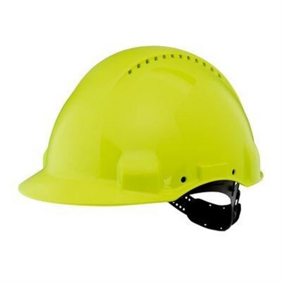 PELTOR Helmet G3000 with Uvicator Sensor Std. suspension plastic sweatband Vented Hi-Viz Pack of 20