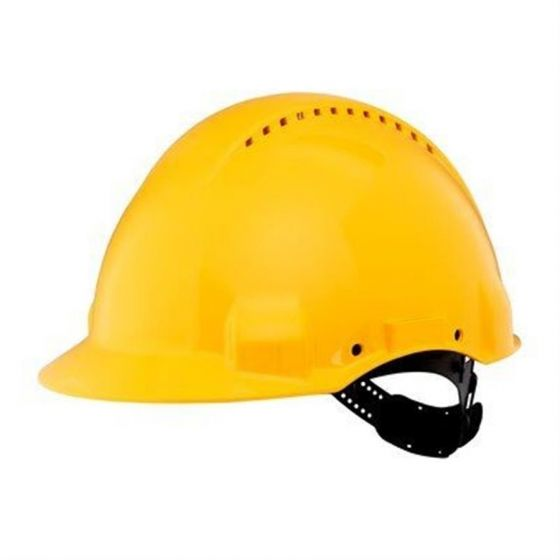 PELTOR Helmet G3000 with Uvicator Sensor Std. suspension plastic sweatband Vented yellow Pack of 20