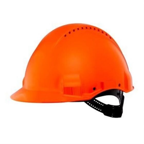 PELTOR Helmet G3000 with Uvicator Sensor Std. suspension plastic sweatband Vented orange Pack of 20