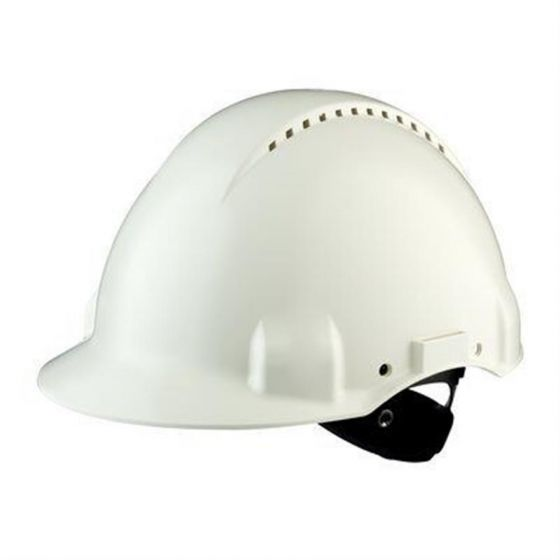 PELTOR Helmet G3000 with Uvicator Sensor Std. suspension plastic sweatband Vented white Pack of 20