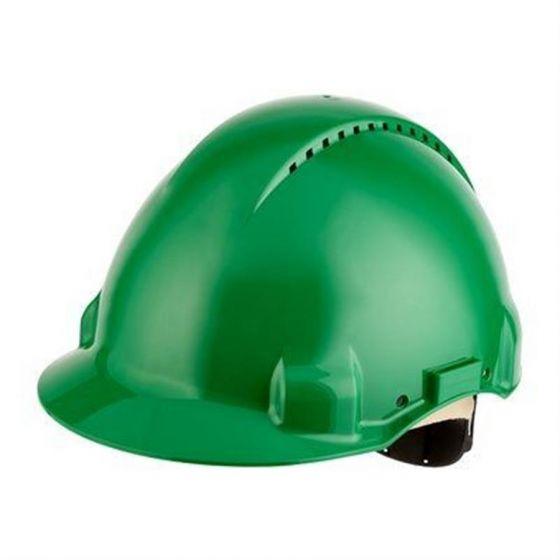 PELTOR Helmet G3000 with Uvicator Sensor Std. suspension leather sweatband Vented green Pack of 20