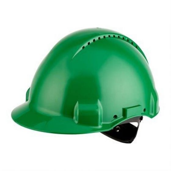 PELTOR Helmet G3000 with Uvicator Sensor ratchet Susp plastic sweatband Vented green Pack of 20