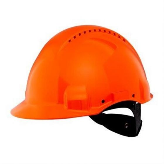 PELTOR Helmet G3000 with Uvicator Sensor ratchet Susp plastic sweatband Vented orange Pack of 20