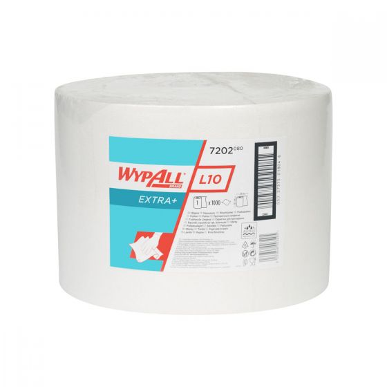 7202 WYPALL L10 EXTRA+ Wipers - White - Large Roll x 1000 Sheets