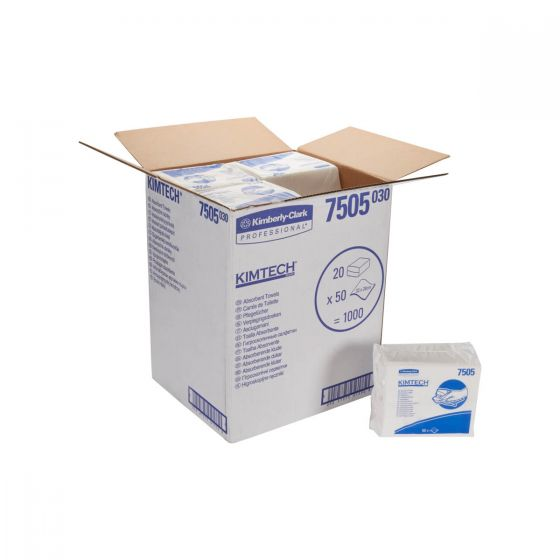 7505 KIMTECH Absorbent Towels - White - 20 x 50 Sheets