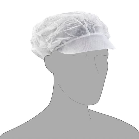 PAL Peaked Large Mob Cap -Economy- White - 100 per Bag, Case of 10 Bags