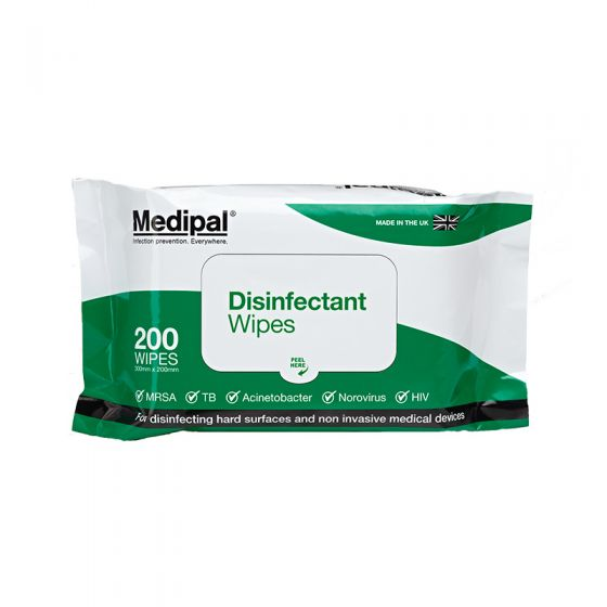S625110MPCE Medipal Disinfectant Wipes - Alcohol Free - Soft Pack - 6 x 200 Sheets