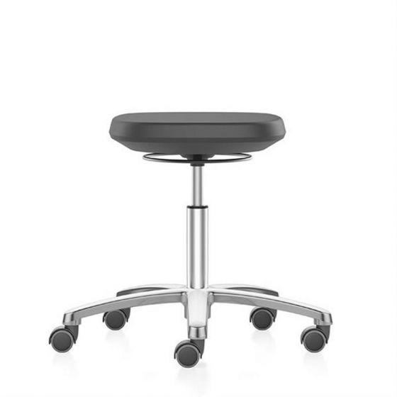 Labsit Stool with PU foam seat, aluminium polished frame and castors