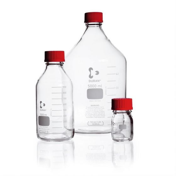 Lab bottle clear graduated GL 45 high temp red PBT screw-cap ETFE pouring ring 1000 ml Pack of 10-218015414-Camlab