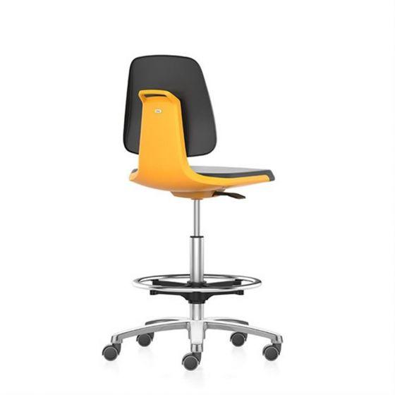 Labsit 4 PU-foam, orange seat shell, polished  base, stop/go castors