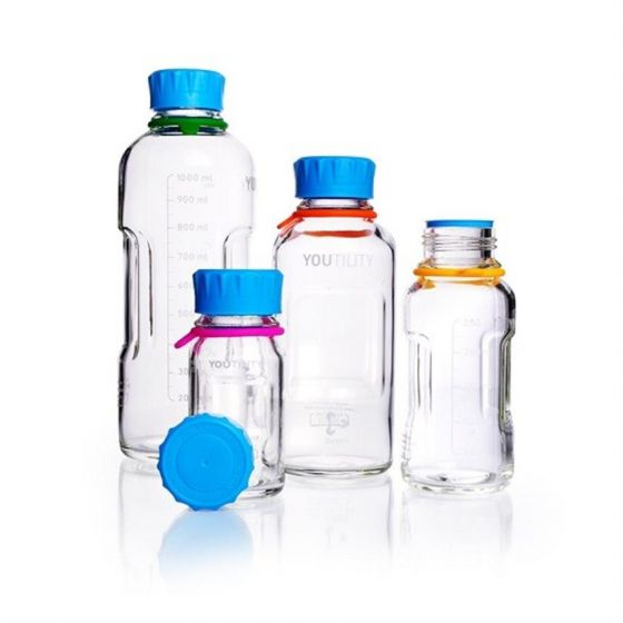 DURAN® YOUTILITY Bottle 250ml clear glass complete with GL45 cap and poring ring Pack of 4-218813653-Camlab