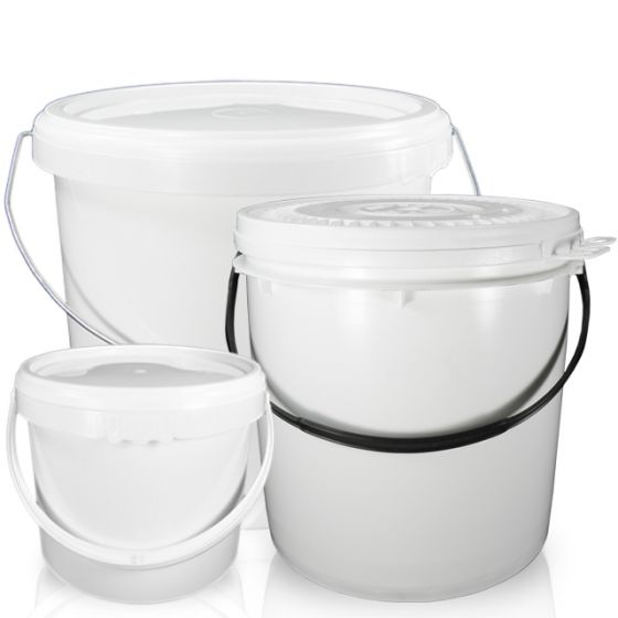 White Plastic Bucket with Tamper Evident Lid