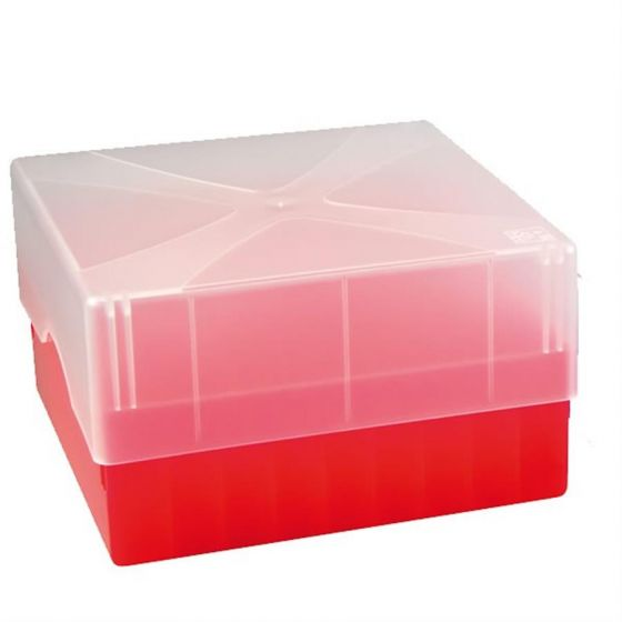 Cryo-Boxes PP grid 10 x 10 red 133 x 133 x 50/75 mm combi-lid  Pack of 5-5320112-Camlab