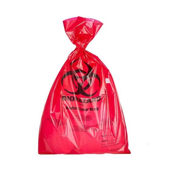 Waste Disposal Bags PE Red BIOHAZARD with indicator patch 210x290x0.02mm Pack of 1000-7002110-Camlab