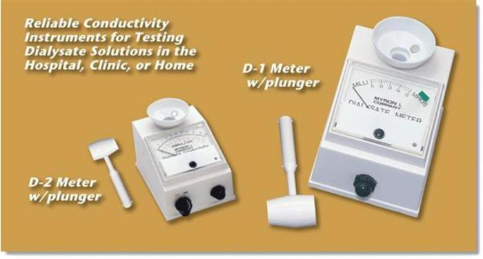 Dialysate Meter Model D-2. dual range 0 to 10 and 0 to 20 millimhos.